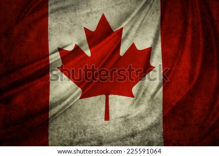 Canadian flag detail. Grunge effect - stock photo