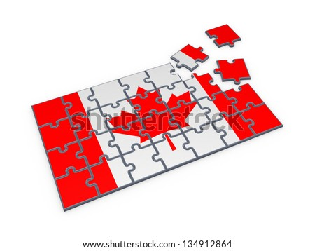 Canadian flag made of puzzles.Isolated on white background.3d rendered. - stock photo