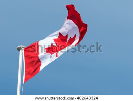 Canadian flag of Canada Maple Leaf blowing in the wind.