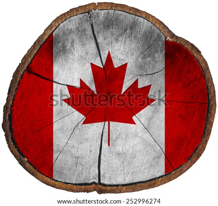 Canadian Flag on Section of Tree Trunk. Flag of Canada on a section of tree trunk isolated on white background - stock photo