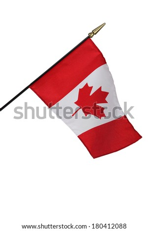 Canadian flag on white background - stock photo