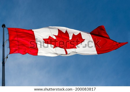 Canadian flag waving in the air over a beautiful blue sky, Canada Union Jack the national symbol of the union of all provinces in a federal country.
