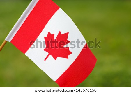 Canadian flag waving in the wind - stock photo