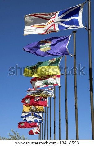 Canadian flags along the river valley in Edmonton - stock photo