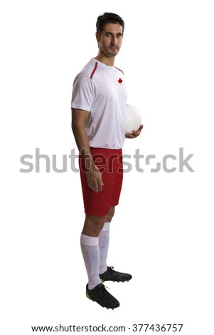 Canadian futebol soccer in white background