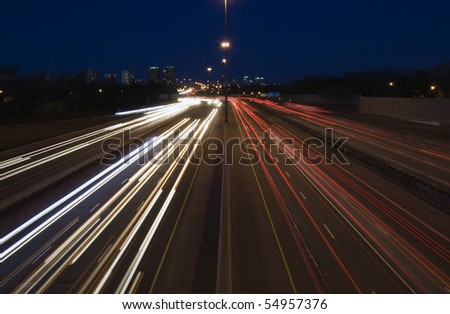 Canadian Highway at night, long exposure
