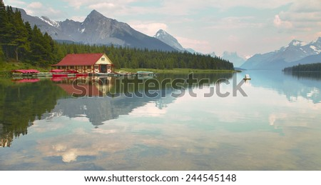 Canadian landscape with Maligne lake. Jasper. Alberta. Horizontal - stock photo