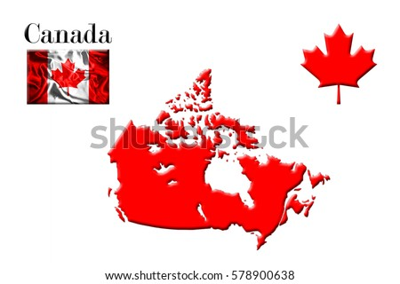 Canada Flag Map Stock Vector Shutterstock - Canada map with flag