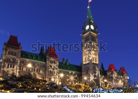 Canadian Parliament Building at Christmas
