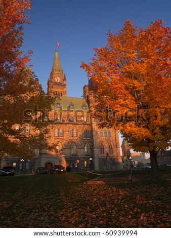 Canadian parliament in the autumn sunset - stock photo