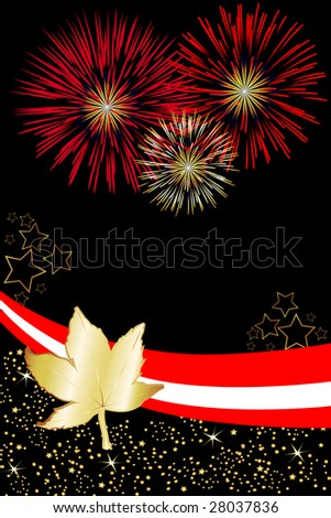 Canadian pride is illustrated in this event poster. Great for Canada Day fireworks invitations.