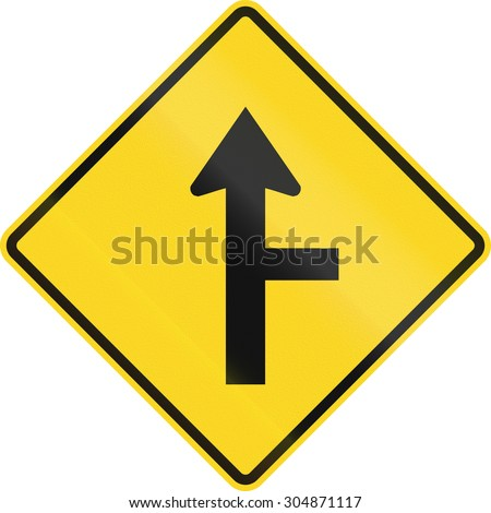 Canadian road warning sign - T-Intersection with priority ahead. This sign is used in Ontario.