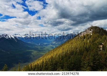 Canadian Rockies mountain top - stock photo