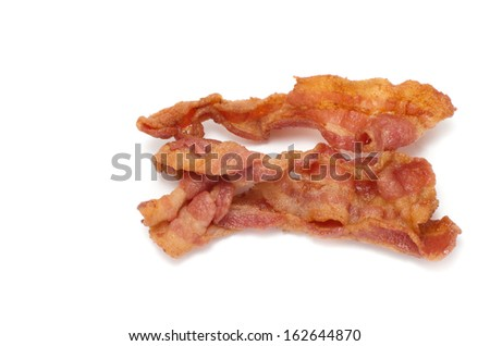 Canadian smoked bacon cooked closeup shot - stock photo