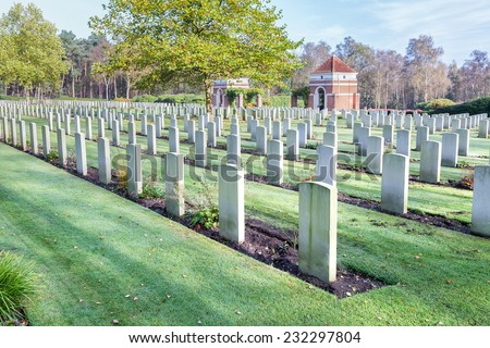 Canadian war cemetery in Holland - stock photo