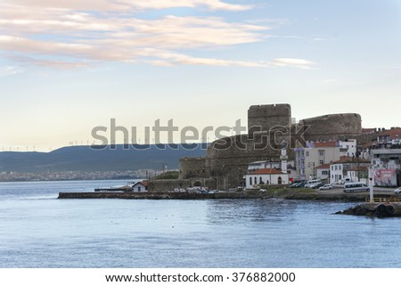 Canakkale, Turkey - February 11, 2016 : Kilitbahir view from sea. Kilitbahir is start point of Gallipoli National park.