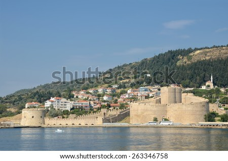CANAKKALE, TURKEY, JULY 17, 2014: Kilitbahir Castle is a fortress on the west side of the Dardanelles, opposite the city of Canakkale. - stock photo
