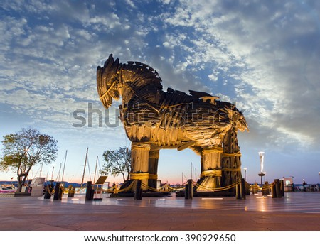 CANAKKALE, TURKEY - OCTOBER 20 , 2014: Trojan horse, Canakkale Turkey - stock photo