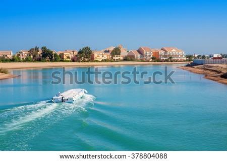 Canal and houses at El Gouna resort. Egypt, North Africa - stock photo