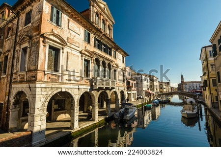 Canal at the old town of Chioggia - Italy. - stock photo