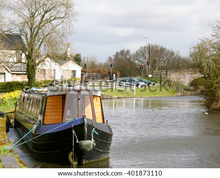 Canal boats at Red Rock Bridge, Haigh, Wigan, Lancashire, United Kingdom