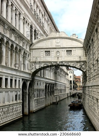 Canal bridge landmark gothic architecture Venice, Italy. - stock photo
