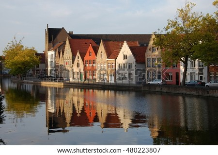 Canal embankment in the evening in Bruges, Belgium
