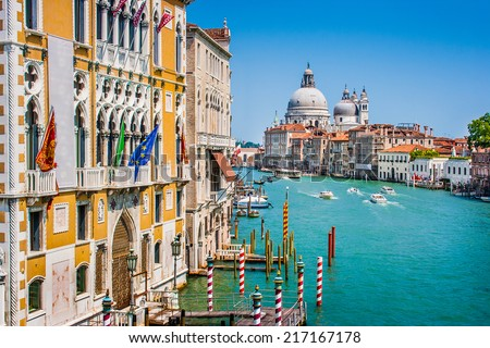 Canal Grande and Basilica di Santa Maria della Salute in Venice, Italy - stock photo