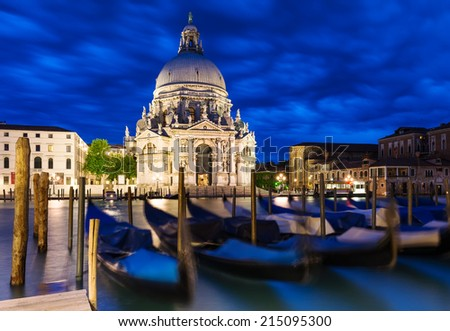Canal Grande and Basilica di Santa Maria della Salute, Venice - stock photo