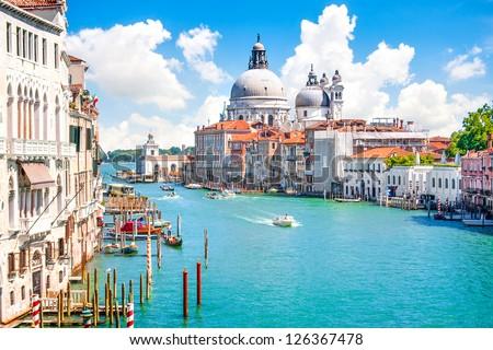 Canal Grande and Basilica di Santa Maria della Salute, Venice, Italy - stock photo