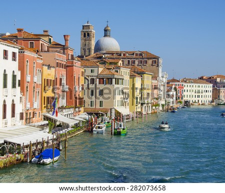 Canal Grande and Church San Geremia in Venice, Italy - stock photo