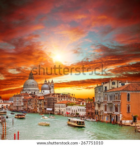 Canal Grande with Basilica di Santa Maria della Salute in Venice - stock photo