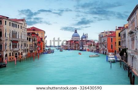 Canal Grande with Basilica di Santa Maria della Salute in Venice - stock photo