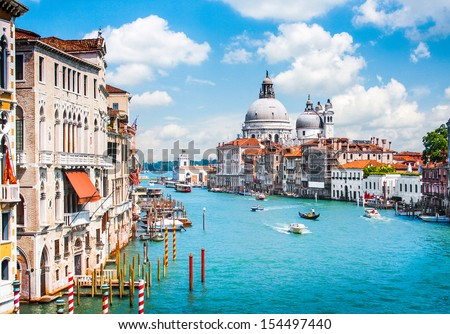 Canal Grande with Basilica di Santa Maria della Salute in Venice, Italy - stock photo