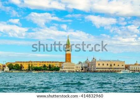 Canal Grande with famous campanile in Venice, Italy - stock photo