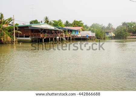 Canal House Amphawa Thailand,  the most famous floating market in Thailand - not far from Bangkok. - stock photo