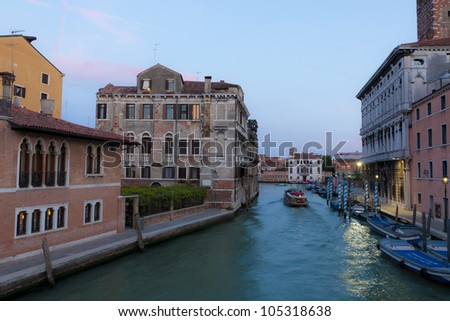 Canal in Venice at night. - stock photo