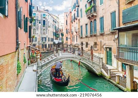 stock photo canal in venice italy 219076456 - Каталог — Фотообои «Венеция»