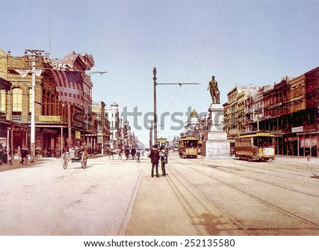 Canal Street in New Orleans, chotochrom by William Henry Jackson, ca. 1900 - stock photo