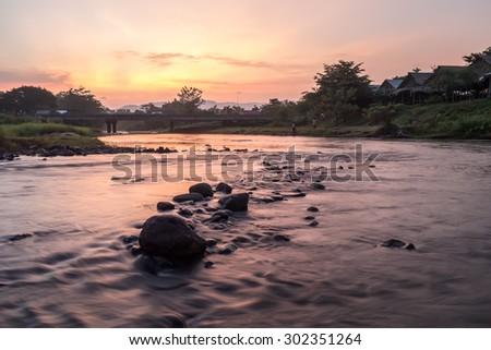 Canal twilight Thailand. - stock photo
