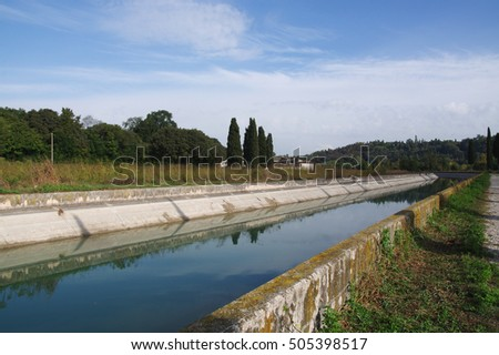 Canal Virgilio along the Mincio river banks, Lombardy, Italy