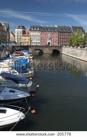 Canal with boats in central Copenhagen - stock photo