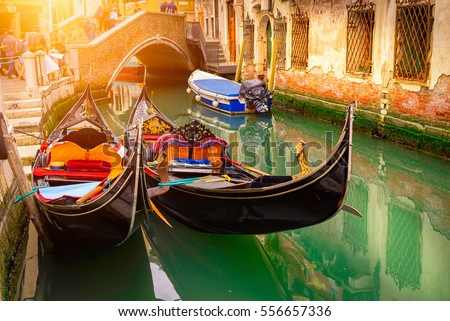 stock photo canal with two gondolas in venice italy architecture and landmarks of venice venice postcard 556657336 - Каталог — Фотообои «Венеция»