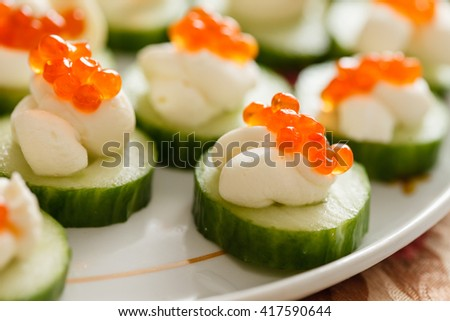 canape with caviar - stock photo