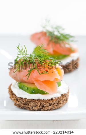 canape with cheese, cucumber and salmon, close-up, vertical - stock photo
