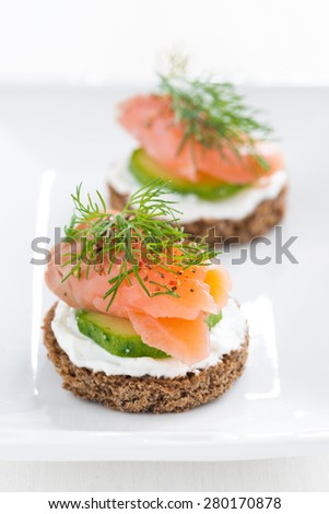 canape with cheese, cucumber and salmon, vertical, close-up - stock photo