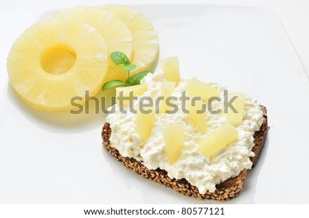 Canape With Cottage Cheese And Pineapple On Spelt Bread