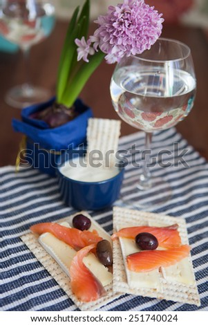 Canape with salted salmon and matzo - stock photo