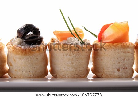 canapes appetizer, buffet food