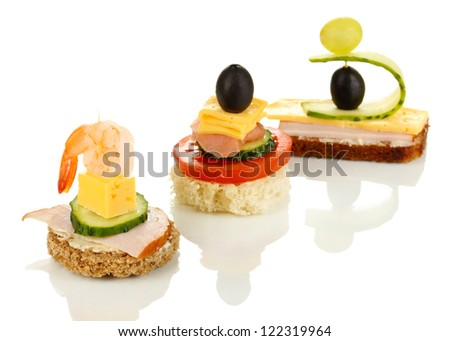 Canapes isolated on white - stock photo